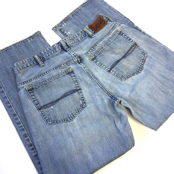 Lee Other - Lee Bootcut Distressed Blue Jeans Size 34 nwt